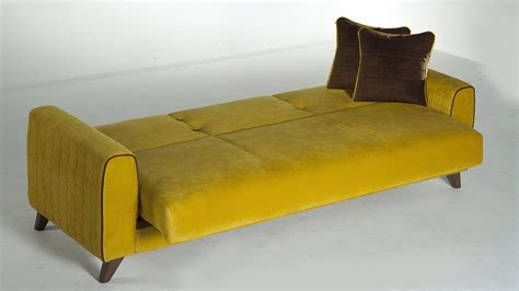 fabio lilyum yellow convertible sofa bed  istikbal furniture
