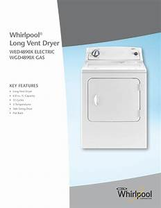 Download Free Pdf For Whirlpool Wgd4890x Dryer Manual