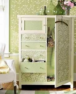 Papier Deco Meuble : relooking meuble de rangement avec du papier peint vert ~ Teatrodelosmanantiales.com Idées de Décoration