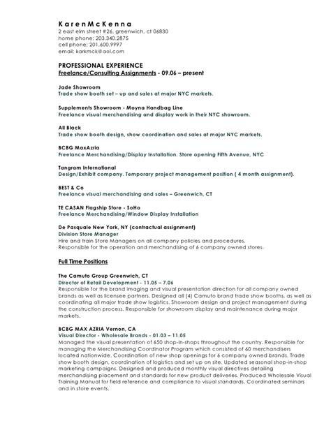 visual merchandiser description for resume k a r e n m c k e n n a current resume