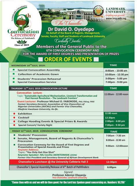 landmark university convocation ceremony programme eventsh
