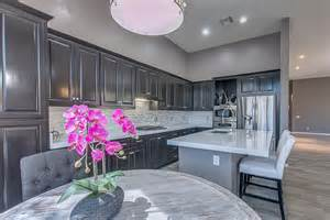 Gray Kitchen Walls with Dark Cabinets