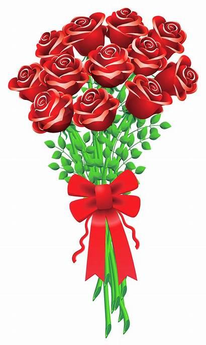 Clipart Rose Cartoon Bouquet Roses Boque Flower