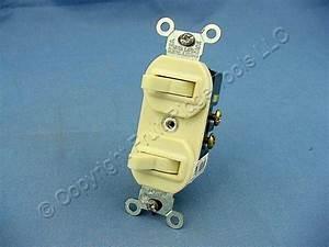 Leviton Ivory Double Wall Light Switch Duplex Toggle 15a