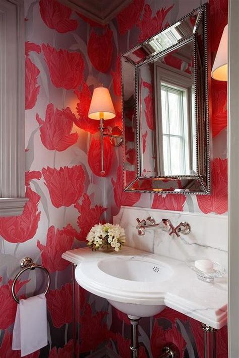 powder room  beveled beaded mirror contemporary