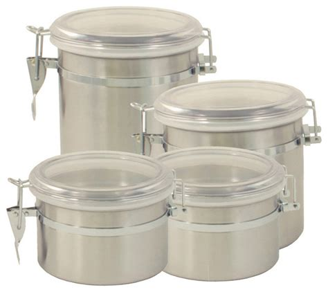contemporary canister sets kitchen excelsteel stainless steel 4 canister set 5686