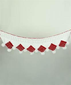 Buy White Red Woolen Crochet Door Hanging Online in India