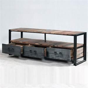 Meuble De Salle De Bain Industriel : meuble tv industrielle 3 tiroirs 1 niche ~ Teatrodelosmanantiales.com Idées de Décoration