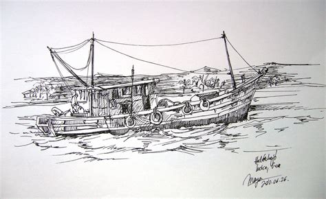 Boat Sketches by Fishing Boat 2 Boat Sketch With Black Pen