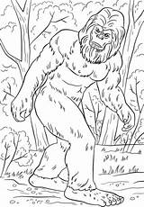 Bigfoot Coloring Yeti Printable Monstruo Dibujos Pie Grande Leyenda Kleurplaten Sasquatch Kleurplaat Monster Colouring Colorear Supercoloring Camping Druku Kolorowanki Stopa sketch template