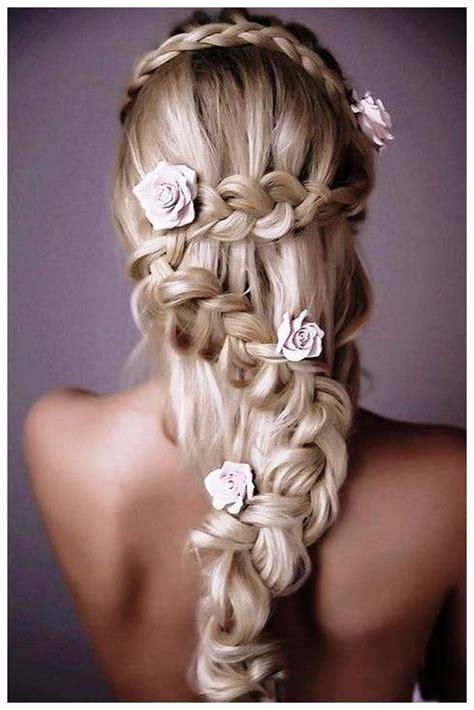 wedding hairstyles  long hair  braids  flowers