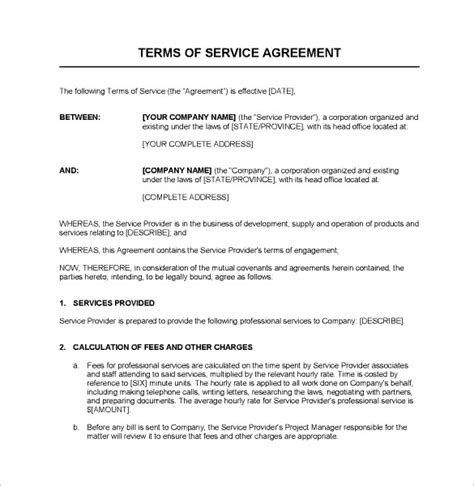 Contract Template by Service Agreement Template Word Emsec Info