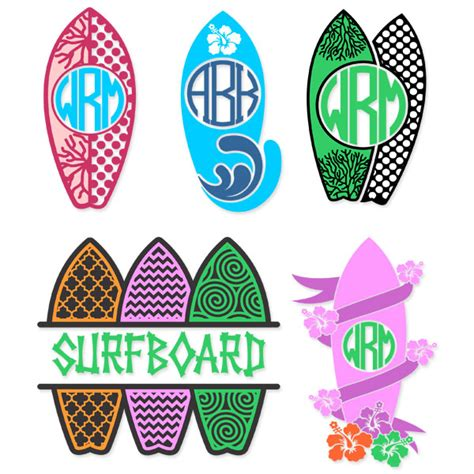 surfboard svg cuttable frames