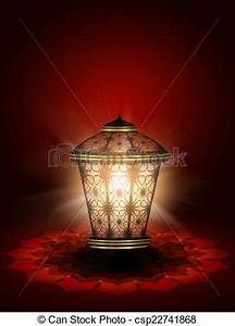 Stock Illustration of diwali lantern shining over dark red ...