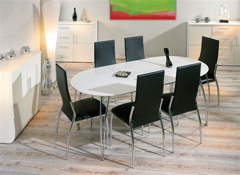 table de cuisine ovale table de salle à manger design extensible blanche