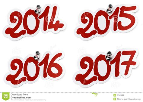 2014 2015 2016 2017 Year Stickers Royalty Free Stock