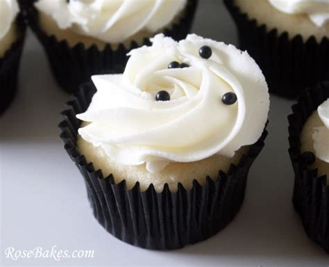 Black & White Wedding Cake And Cupcake Tower