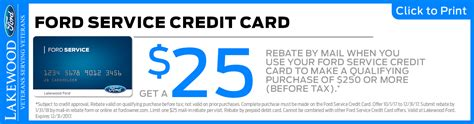 Ford Quick Lane Credit Card Rebate Parts Special