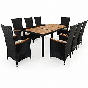Gartenmöbel Set 8 Personen : polyrattan sitzgruppe 8 1 stapelbare st hle mit armlehnen aus akazienholz tisch aus ~ Orissabook.com Haus und Dekorationen