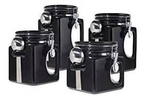 black canister sets for kitchen oggi ez grip handle ceramic 4 canister set black ca home kitchen