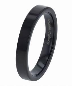 4mm Black Flat Top Tungsten Jewelry Ring Wedding Band EBay