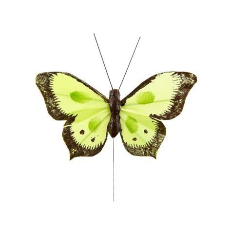 papillon bicolore vert anis en plumes sur tige les 6 d 233 co