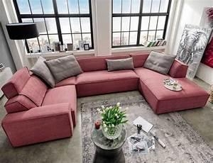 Günstige Wohnlandschaft U Form : u form wohnlandschaft stoffbezug rosa f r ihre wohnung wohnzimmer m bel ideen nw homesite ~ Indierocktalk.com Haus und Dekorationen