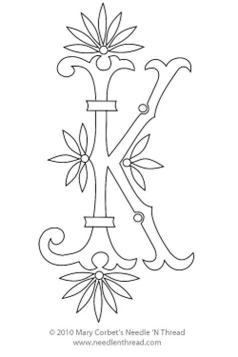 monogram  hand embroidery fan flower  needlenthreadcom
