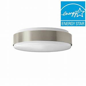 Hampton bay in brushed nickel bright cool white round