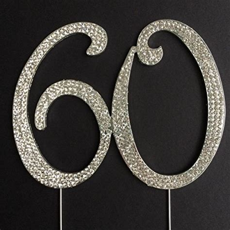 large rhinestone silver number anniversary 60 cake topper for 60th birthday or anniversary silver