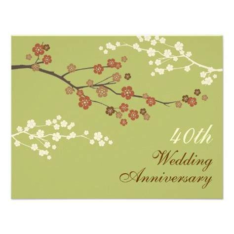 plum blossom anniversary party invitation  green zazzle