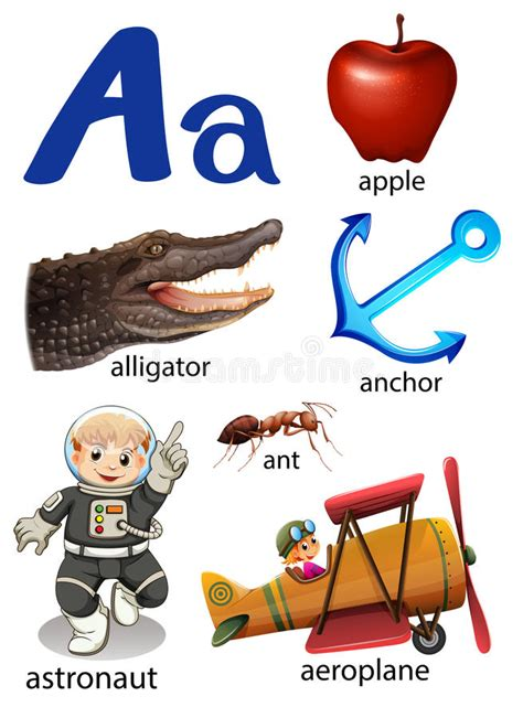 vector illustration of things that start with the letter o things that start with the letter a stock vector 12147