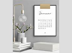 Minimalistischer Kalender 2019 DruckvorlagePrintable, A4