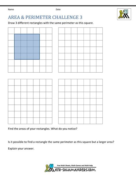 area and perimeter worksheets rectangles squares second
