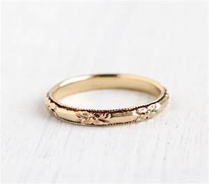 antique 14k yellow gold wedding band ring art deco 1930s With antique wedding band rings