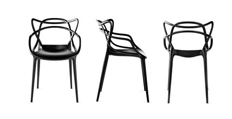 chaises stark fauteuil masters kartell plastique noir made in design