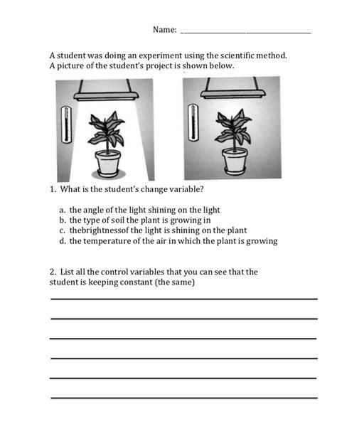 science variables worksheet scientific method variables worksheet