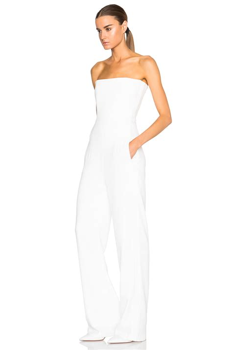 strapless jumpsuit galvan strapless jumpsuit in white lyst
