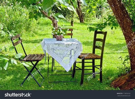 Idyllic Setting Small Coffee Table Wooden Stock Photo