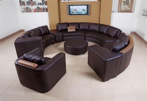 canapé d 39 angle en cuir italien en rond design et pas cher