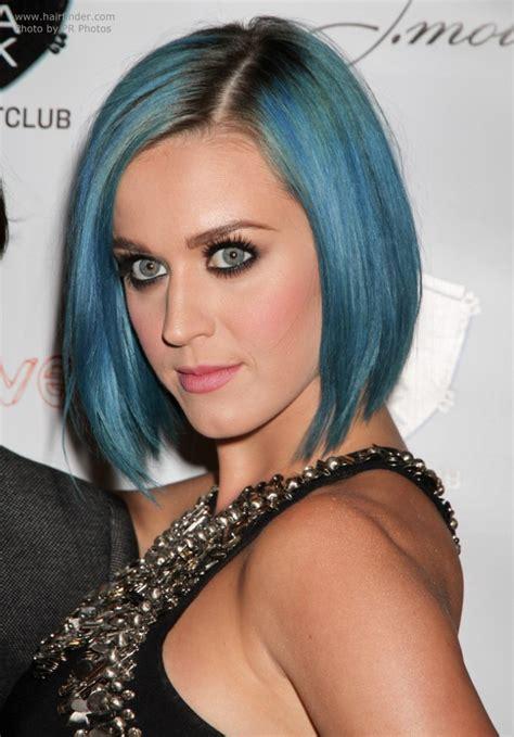 Katy Perry Sporting A Smooth Blue Bob Blue Hair