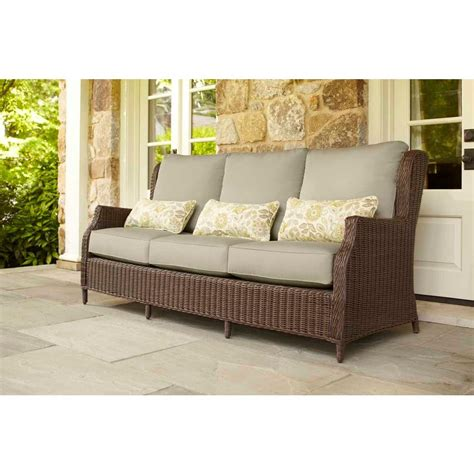 lumbar cushions for sofas brown jordan vineyard patio sofa with meadow cushions and