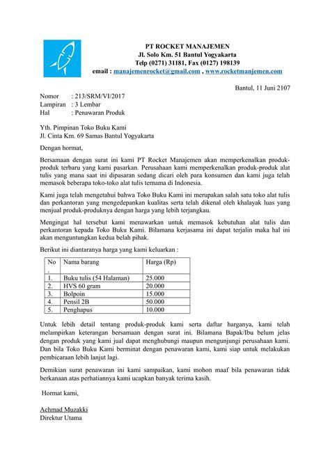 Contoh Surat Permintaan Barang Elektronik by Contoh Surat Penawaran Produk Yang Baik Dan Benar
