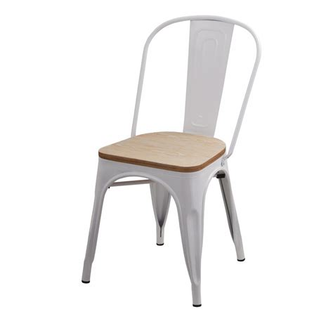 chaise et blanche chaise factory blanche et bois lot de 2 koya design