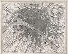 1860 Antique Map of Paris Black and White Paris Map   Etsy ...