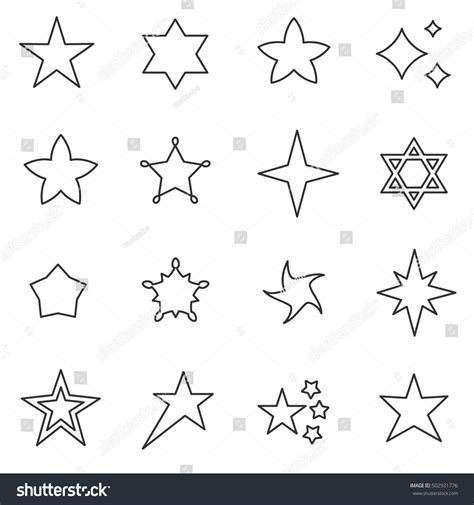 Abstract Shapes Names by Icons Set Abstract Different Stock Vector