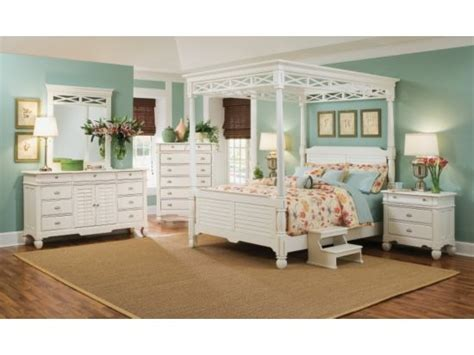plantation cove white 5 pc canopy bedroom package value