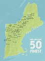 New England Fifty Finest Map 18x24 Poster