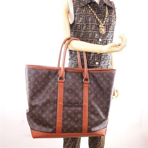 vintage louis vuitton gm sac weekend monogram large tote  hand bag nina furfur vintage boutique