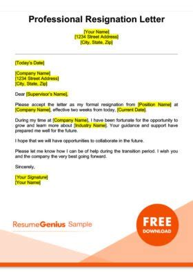 fresh sample resignation letter template